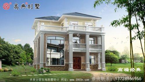 广西贺州造型气派的农村豪宅户型图,外观高端