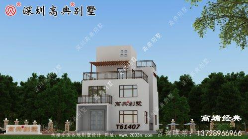 豪华三层别墅设计图,外观极其漂亮,配色新颖